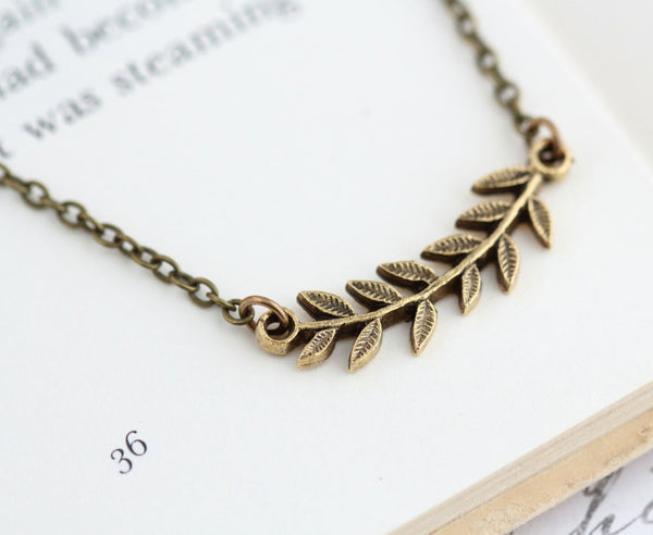 Gold Branch Necklace - Leaf Necklace - Vintage Style Necklace - Woodland Jewelry - Gold Leaf Pendant - Rustic Necklace - Woodland Jewelry - Jacaranda