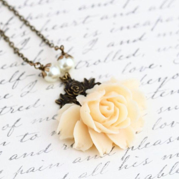 Cream Rose Necklace Vintage Style Statement Necklace - Jacaranda