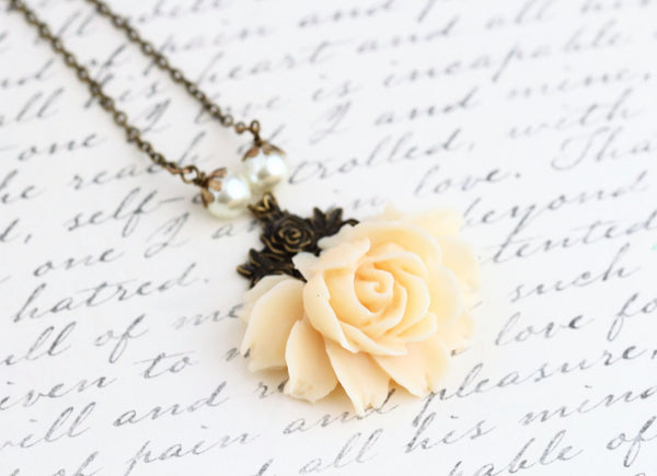 Cream Rose Necklace - Statement Necklace - Vintage Style Flower Necklace - Bridal Necklace - Cream Necklace - Wedding Necklace - Jacaranda