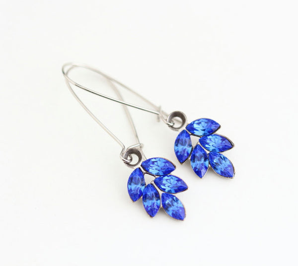 Vintage Blue Rhinestone Silver Earrings - Jacaranda