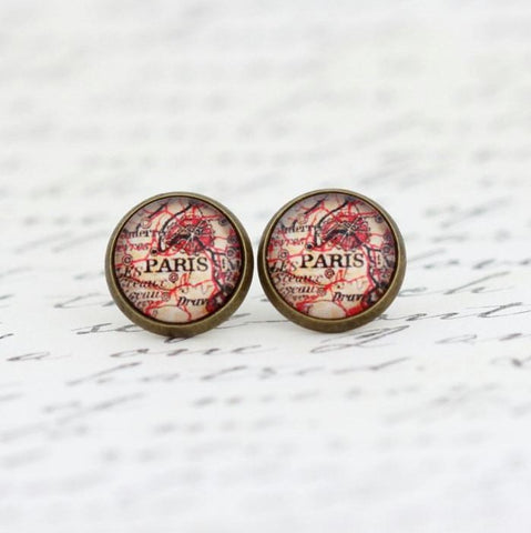 Paris Map Earrings - Jacaranda