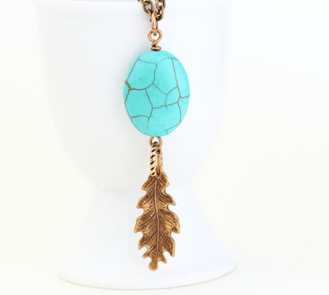 Turquoise Brass Leaf Necklace - Jacaranda