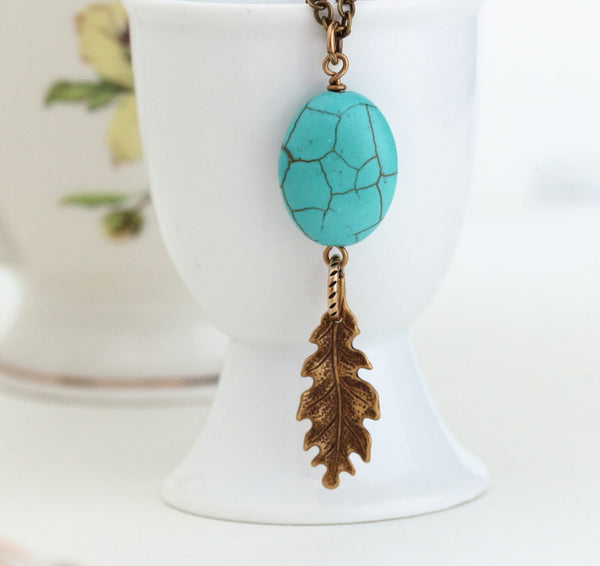 Turquoise Necklace - Turquoise and Brass - Woodland Style - Rustic - Turquoise Pendant With Brass Oak Leaf - Boho Chic Jewelry - Jacaranda