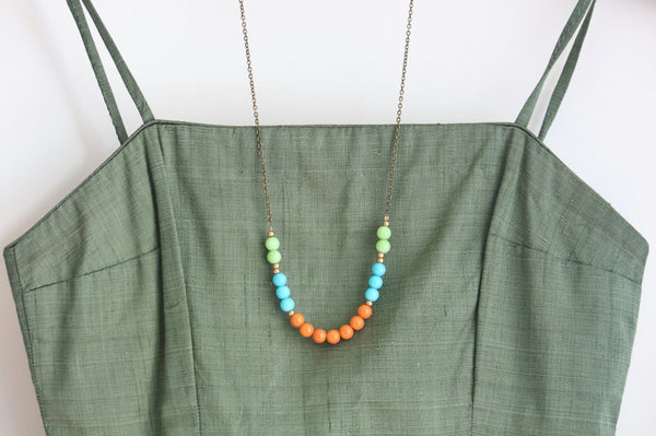 Colorful Beaded Strand Necklace - Jacaranda