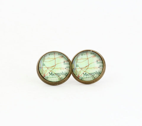 Memphis Map Post Earrings - Post Earrings - Map Earrings - Map Jewelry - Vintage Map Print - Stud Earrings - Jacaranda