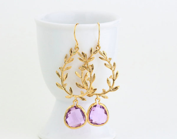 Gold and Lilac Laurel Wreath Earrings - Jacaranda