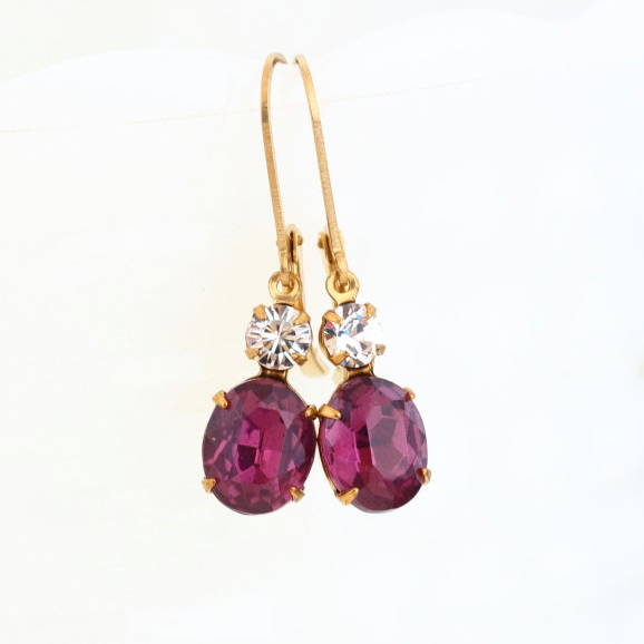 Burgundy Vintage Jewel Lever-Back Earrings - Jacaranda