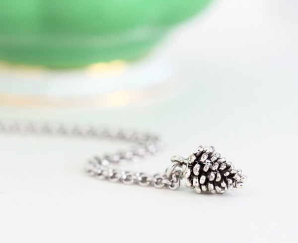 Pine Cone Necklace With Antique Silver Pine Cone Charm on Rhodium Plated Sterling Silver Chain - Woodland Rustic Jewelry - Girlfriend Gift - Jacaranda