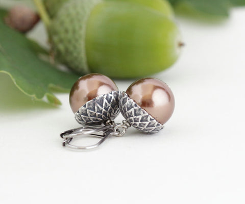 Antique Silver Brass Acorn Earrings With Bronze Pearls - Jacaranda