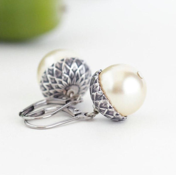 Antique Silver Brass Acorn Earrings With Pale Gold Pearls