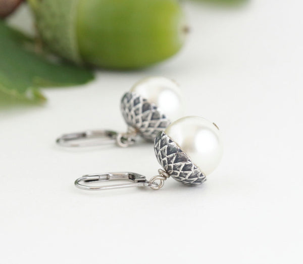 Antique Silver Brass Acorn Earrings With Ivory Pearls - Jacaranda