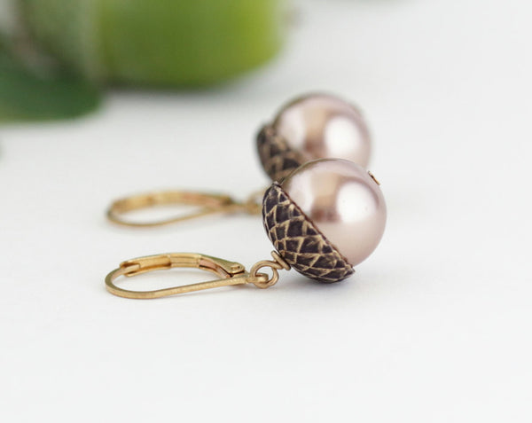 Antique Gold Brass Acorn Earrings With Pale Bronze Pearls - Jacaranda