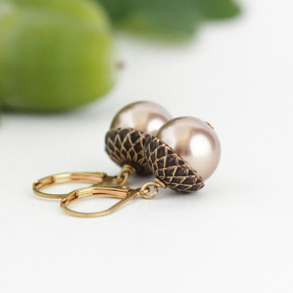 Antique Gold Brass Acorn Earrings With Pale Bronze Pearls