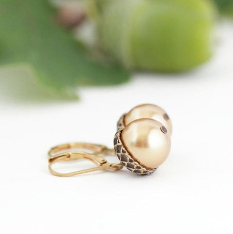 Antique Gold Brass Acorn Earrings With Gold Pearls - Leverback