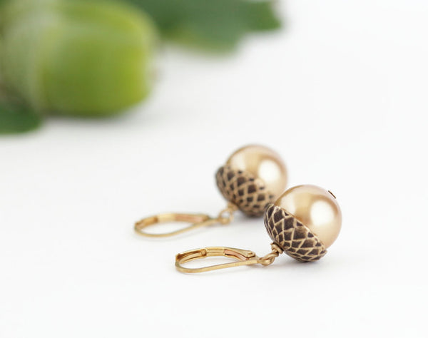 Antique Gold Brass Acorn Earrings With Gold Pearls - Leverback - Jacaranda