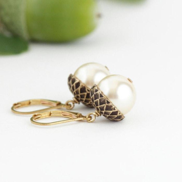 Pale Gold Pearl Acorn Earrings With Antique Gold Brass - Lever-Back - Jacaranda