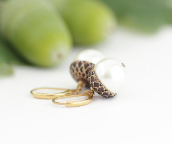 Ivory Pearl Acorn Earrings With Antique Gold Brass - Jacaranda