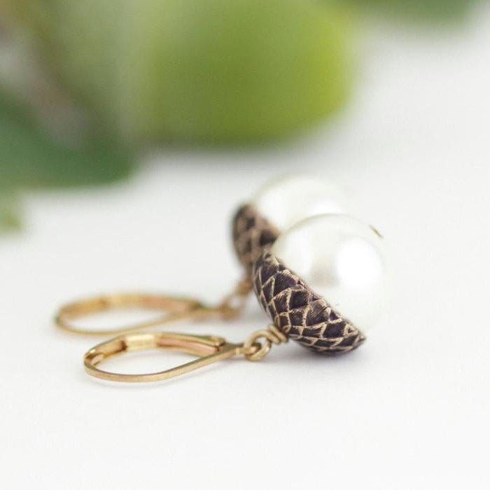 Ivory Pearl Acorn Earrings With Antique Gold Brass