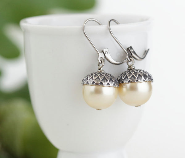 Antique Silver Brass Acorn Earrings With Pale Gold Pearls - Jacaranda