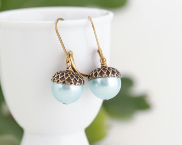 Blue Pearl Earrings - Acorn Earrings -  Nature Earrings - Woodland Rustic - Antique Gold Brass and Soft Blue Pearls - Nature Earrings - Jacaranda