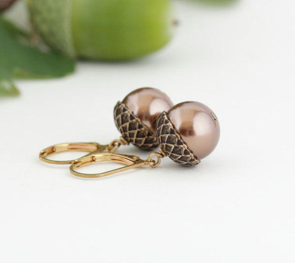 Antique Gold Brass Acorn Earrings With Bronze Pearls - Jacaranda