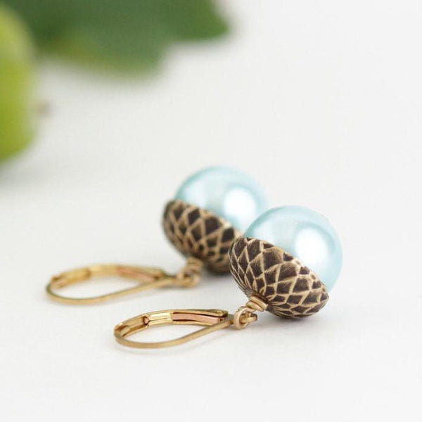 Pale Blue Pearl and Antique Silver Acorn Earrings