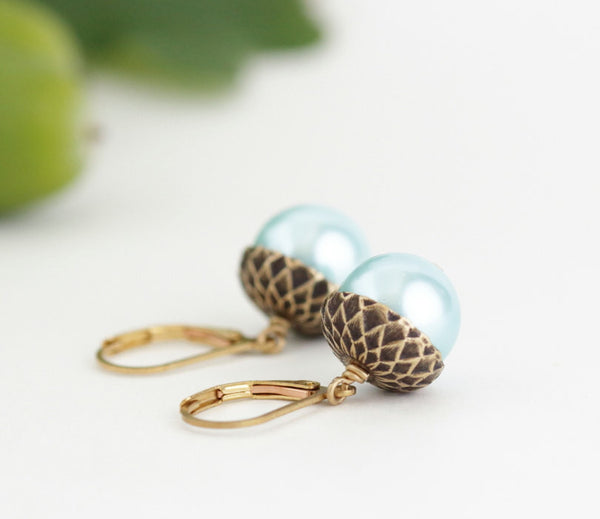 Pale Blue Pearl and Antique Silver Acorn Earrings - Jacaranda