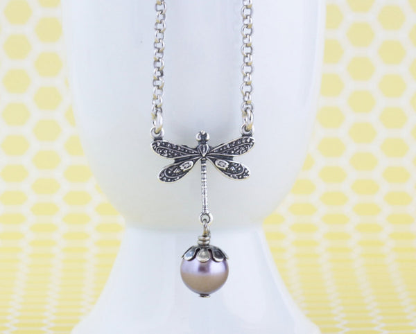 Silver Dragonfly Necklace - Jacaranda