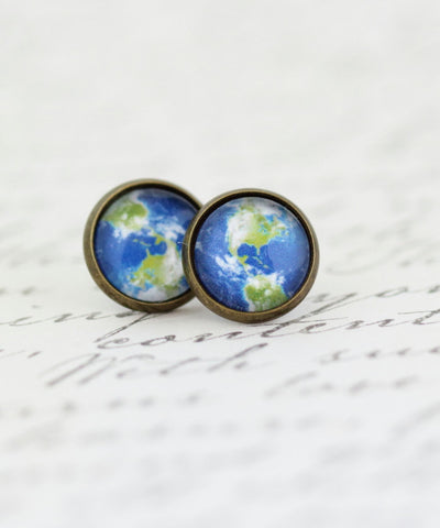 Planet Earth Earrings - Gift For The Avid Traveler Explorer - Stud Earrings - View of Earth - Map Jewelry - Green and Blue - Gift For Woman - Jacaranda