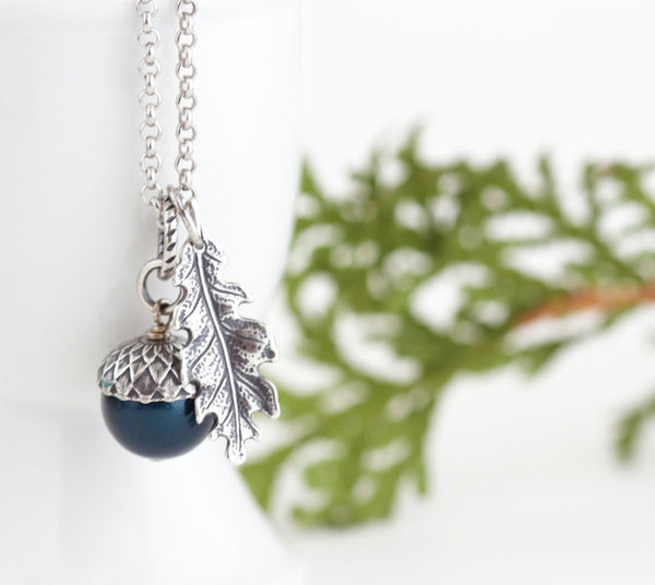 Teal Pearl and Antique Silver Acorn Pendant Necklace