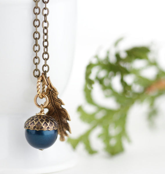 Teal Pearl and Antique Gold Pendant Necklace - Jacaranda