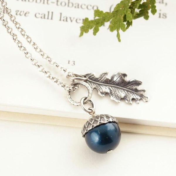 Teal Pearl and Antique Silver Acorn Pendant Necklace - Jacaranda