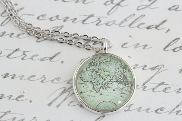 World Map Pendant Necklace - Silver - Jacaranda
