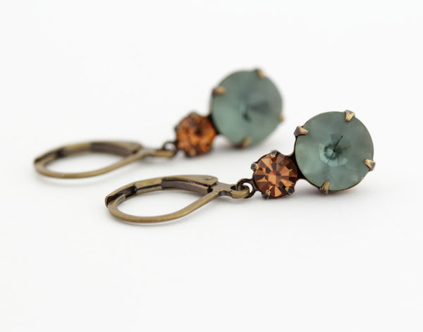 Smokey Blue Vintage Glass Earrings - Jacaranda
