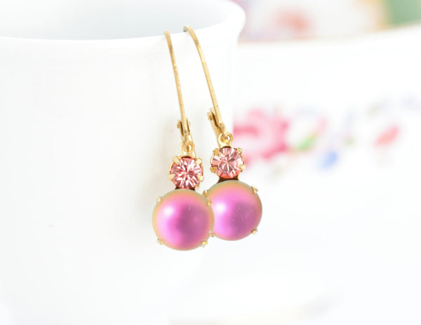 Vintage Jewel Pink Rhinestone Earrings - Jacaranda
