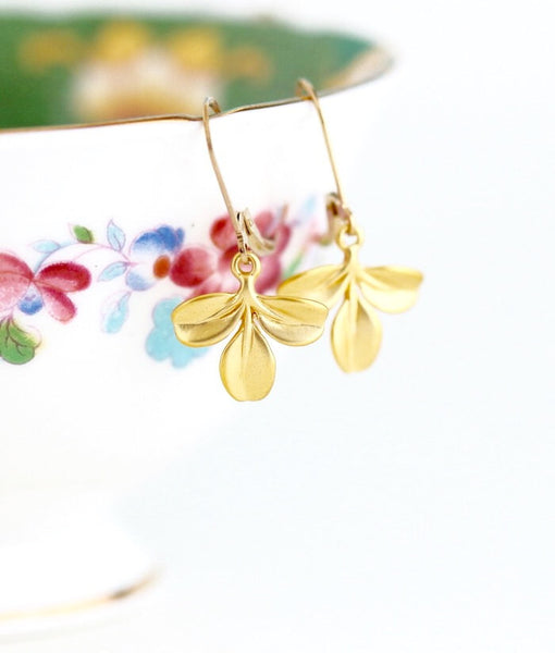 Gold Leaf Earrings - Small Gold Earrings - Nature Drop Earrings - Simple Earrings - Trio of Leaves - Gift For Woman - Jacaranda