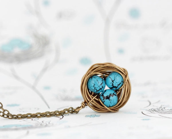 Gift For Mom - Wire Bird Nest Pendant - Turquoise Bead Eggs - Gift for New Mom - Push Present - Grandmother Gift - Woodland Jewelry - Jacaranda