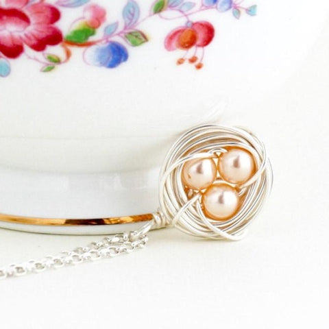 Silver Bird Nest Pendant - Peach Eggs