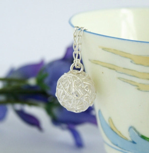 Ball of Yarn Necklace - Gift for Knitter - Knitting Gift - Sterling Silver - Gift For Mom - Knitting - Silver Yarn Charm Necklace - Jacaranda