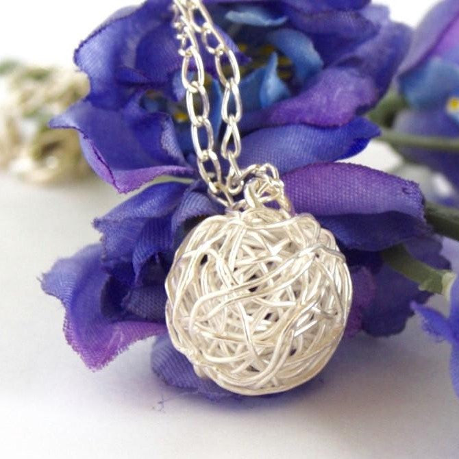 Sterling Silver Ball of Yarn Necklace