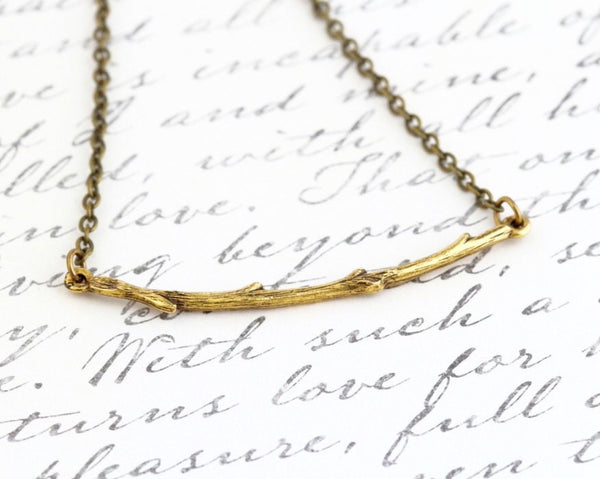 Gold Branch Necklace - Bar Necklace - Branch Pendant - Simple Jewelry - Nature Jewelry - Golden Branch - Gold Twig - Girlfriend Gift - - Jacaranda