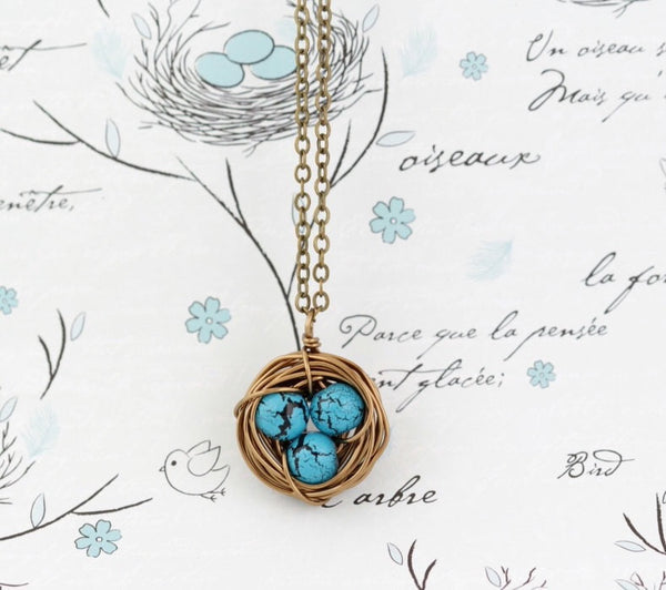 Turquoise Beaded Wire Wrapped Bird Nest Necklace - Jacaranda