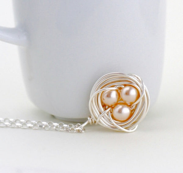 Silver Bird Nest Pendant - Peach Eggs - Jacaranda