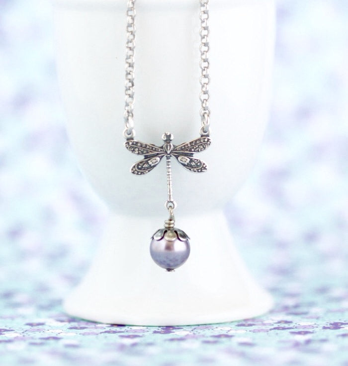 Silver Dragonfly Necklace - Mauve Pearl Necklace - Dragonfly Pendant - Rhodium Plated Sterling Silver - Dragonfly Charm - Girlfriend Gift - Jacaranda