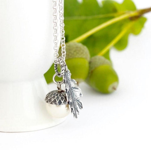 Ivory Pearl and Sterling SIlver  Acorn Necklace - Jacaranda