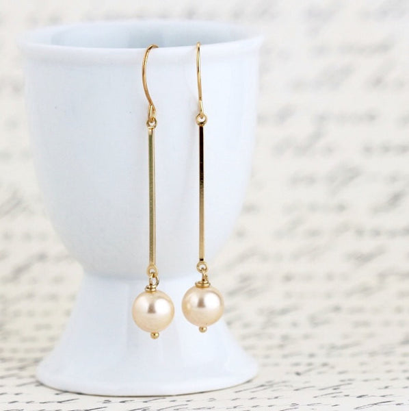 Pale Gold Pearl Dangle Earrings - Jacaranda