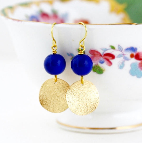 Royal Blue Earrings - Gold Earrings - Geometric Earrings - Dangle Earrings - Electric Blue - Beaded Earrings - Jacaranda