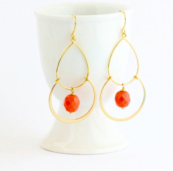 Gold Dangle Earrings with Orange Earrings - Jacaranda