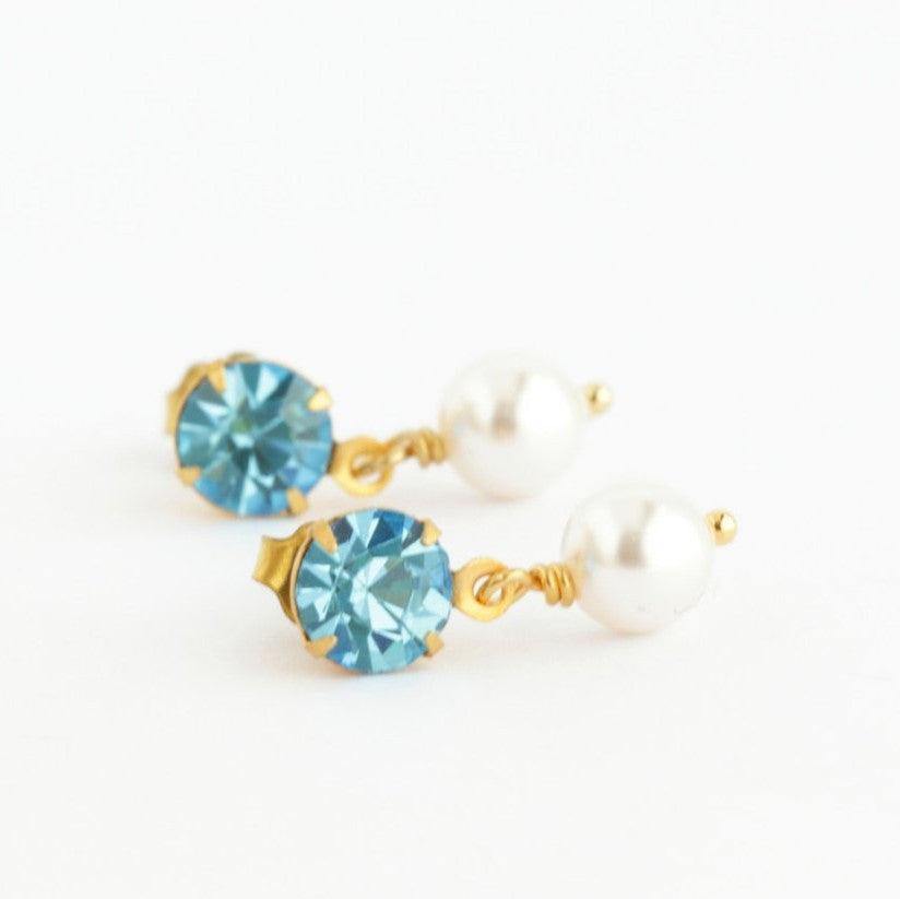 Aquamarine Blue Drop Pearl Earrings - Jacaranda