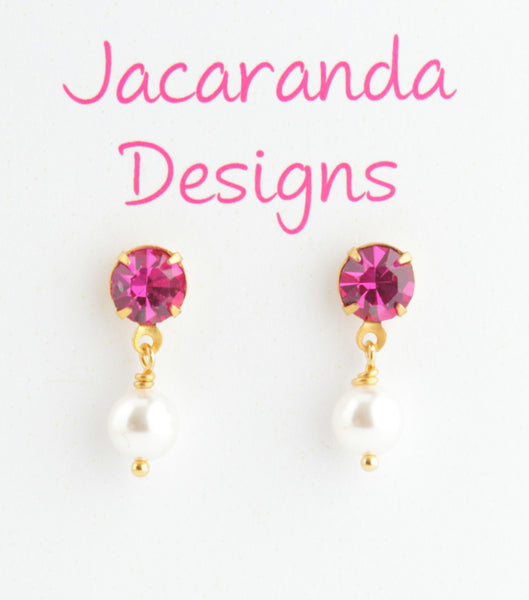 Pink Crystal Post Earrings - Jacaranda